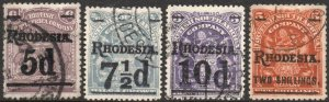 RHODESIA-1909-11 Surcharge Set Sg 114-118 FINE USED V43852