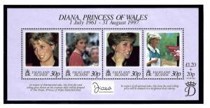 Falkland Is 694 MNH 1998 Princess Diana Sheet of 4