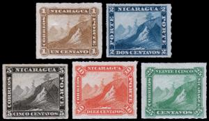 Nicaragua Scott 8-12 (1878-80) Mint H F-VF Complete Set, CV $59.00 B