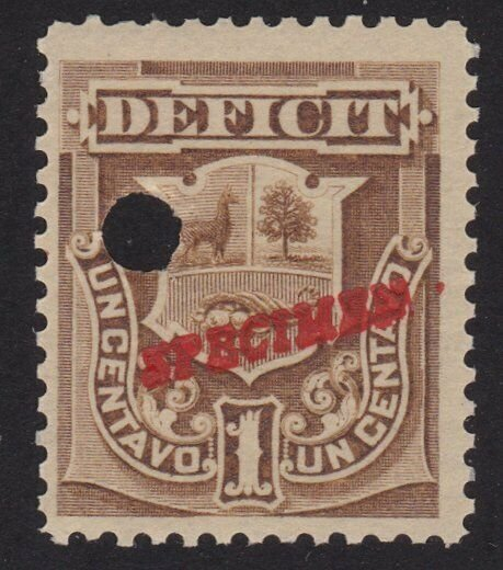 PERU 1c Official SPECIMEN opt in red + security punch hole .................7936
