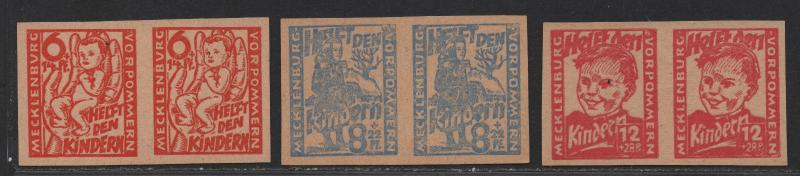 $German Occ. Mecklenburg Mi#26aUG-28aUG M/NH/XF, rare pairs signed