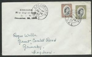 GRENADA 1953 QE ½c & 6c on FDC - official FDC handstamp....................61063