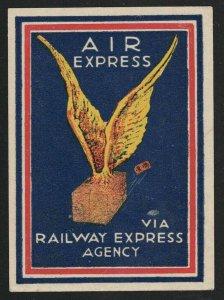 Air Express Via Railway Express Agency - Vintage Poster Stamp/Label