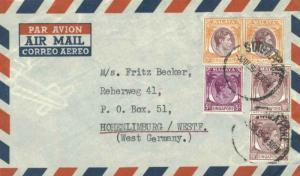 Singapore 25c (2), 10c (2) and 5c KGVI 1955 Singapore Airmail to Hohenlimburg...