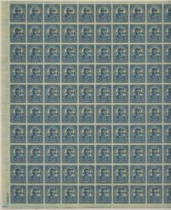 #648 FULL SHEET OF 100 ROOSEVELT VF+ OG NH BROOKMAN CV $2,850 WL9555