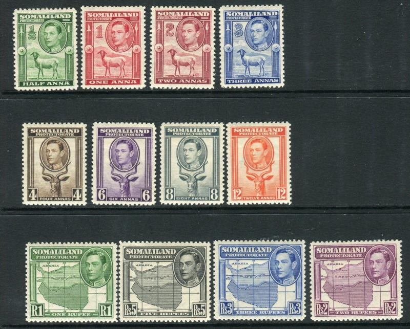 SOMALILAND PROTECTORATE-1938  A mounted mint set of 12 Sg 93-104