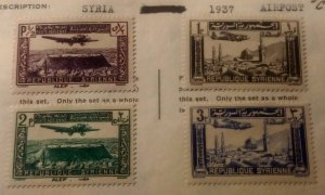 Syria group of 4 airpost SET