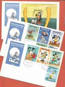 TURKS & CAICOS - FDC – 1979 – DISNEY – #399-408 - 9 + SHEET - 3 COVERS