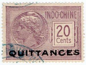 (I.B) France Colonial Revenue : Indo-China Quittances 20c (overprint)