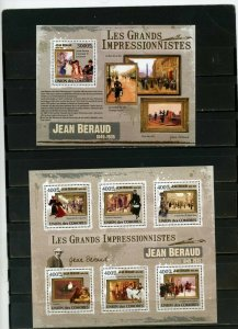 COMOROS 2009 IMPRESSIONISTS/PAINTINGS BY J.BERAUD SHEET OF 6 STAMPS & S/S MNH