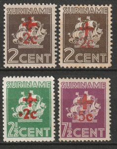 Suriname 1942 Sc B37a-40 set MH toned gum/MNG