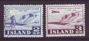 J19174 Jlstamps 1951 iceland set used #271-2 views