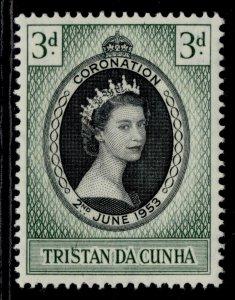 TRISTAN DA CUNHA QEII SG13, 3d 1953 CORONATION, M MINT.