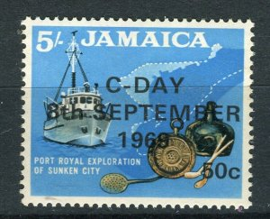 JAMAICA; 1969 early Decimal Currency surcharged issue MINT MNH 50c. value