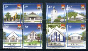 Kiribati 2008 MNH Christmas Churches of Tarawa 8v in Pairs Architecture Stamps