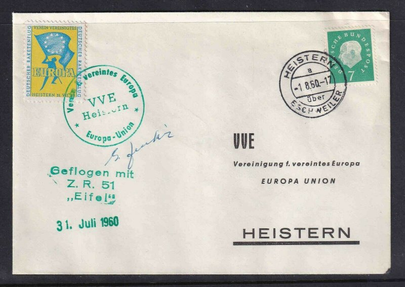 GERMANY ROCKETMAIL ZUCKER VVE EUROPA SIGNED 31. JULI 1960 VF