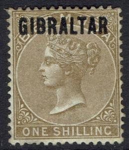 GIBRALTAR 1886 QV BERMUDA OVERPRINTED 1/-