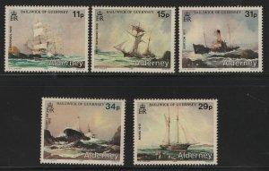 ALDERNEY 32-36, (5) SET, MNH, 1987 Ship wrecks