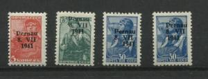 Estonia/Russia.Germany Occ.1941  Mi 5 7 9 (X2) MNH Rare Type 1 Pernau  Overprint