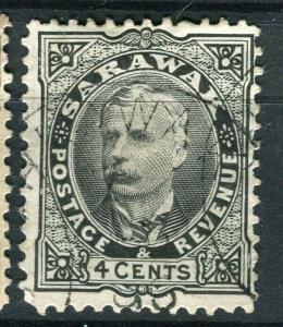 SARAWAK; 1895 early classic C. Brooke issue fine used 4c. value