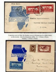 EGYPT Covers{2}Air Mail IMPERIAL AIRWAYS Hendrey &Genuine Juba Mwanza 1931 EP407