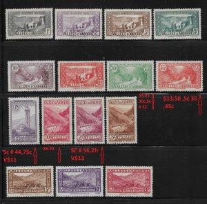 French Andorra 1932-43, Scott 23//63, 15 stamps,VF MLH*OG (FR-1)
