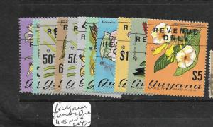 GUYANA (P1504B) ORCHIDS 11 VALUES TO $5.00 OVPT REVENUE ONLY   MNH