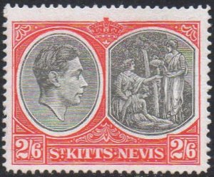 St Kitts-Nevis 1943 2/6d black and scarlet (P 14) MH