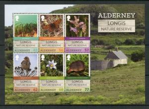 Alderney 2016 MNH Longis Nature Reserve 6v M/S Birds Flowers Butterflies Stamps