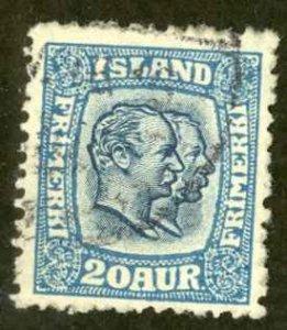 Iceland Sc# 107 Used 1915-1918 20a blue Christian IX & Frederick VIII