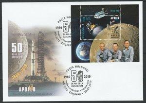 Moldova 2019 Space, Apollo 11 50th Anniversary Moon Landing FDC