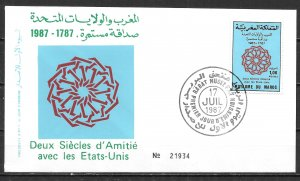 Morocco 642 200th USA Diplomatic Relations FDC First Day Cover (z1)