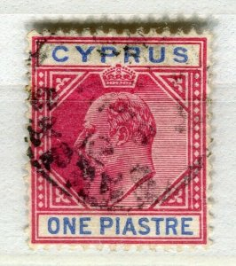 CYPRUS; 1904 early ED VII issue fine used 1Pi. value