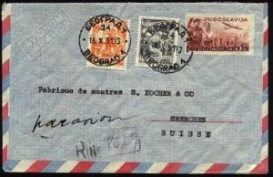 YUGOSLAVIA 1951 Uprated airmail envelope registered to Switzerland.........99897
