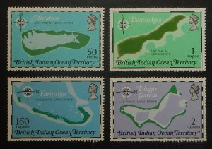 British Indian Ocean Territory 82-85. 1975 Island Maps