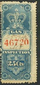 CANADA 1875 25c GAS INSPECTION REVENUE VDM. FG9 F-VF USED