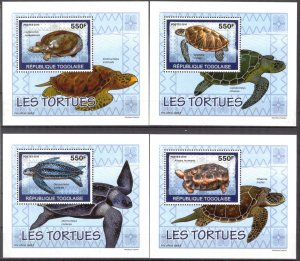 {076} Togo 2010 Turtles 4 S/S Deluxe MNH**