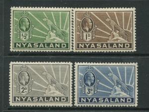 STAMP STATION PERTH Nyasaland #38,39,41,42 MLH KGV 1934 Wmk 4 CV$6.00.
