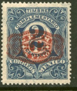 MEXICO 599, $1P ON 2¢ BARRIL SURCHARGE. UNUSED, H OG. VF.