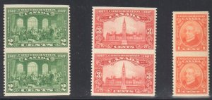Canada #141c to #143c XF NH Imperf Pair
