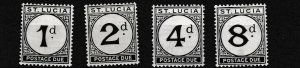 ST LUCIA  1933 - 47  S G D3 - D6  SET OF 4 POSTAGE  DUE   MH