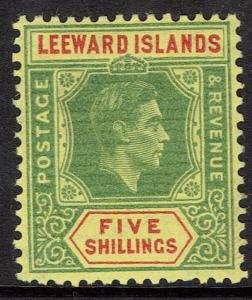 LEEWARD ISLANDS 1938 KGVI 5/- MNH **