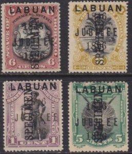 Labuan 1896 SC 66,68-70 Specimen Ovpt MLH