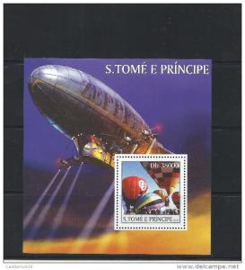 O) 2003 SAO TOME AND PRINCIPE,ZEPPELIN- HOT AIR BALLOON, SOUVENIR MNH