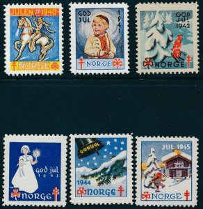 Stamp Label Norway Christmas WWII 1940-5 Set Norwegian Charity Vignette MNH