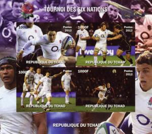 RUGBY 6 Nations/England Shlt (4) Imperf.MNH Chad 2012