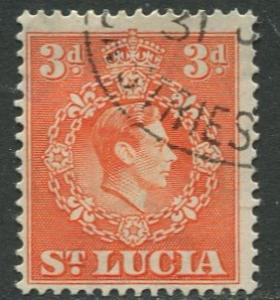 St. Lucia - Scott 117 - KGVI - Definitive -1938 - FU -Single 3p Stamp