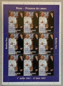 Burkina Faso 1997 590f Diana + Pope sheetlet of 9,  MNH. Scott 1127 CV $20.25