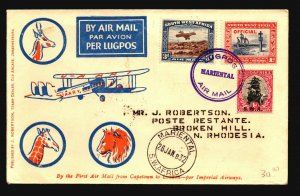 South Africa 1932 FFC / Marintal to Broken Hill N. Rhodesia - Z17992