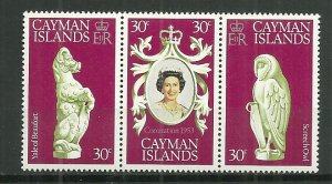 1978 Cayman Islands 404a-c Coronation 25th MNH Se-tenant of 3